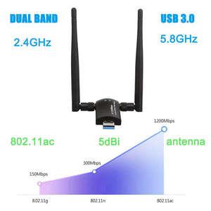 Image 3 - USB Không Dây Wifi, 1200Mbps Băng Tần Kép 2.4 GHz/300 Mbps 5 GHz/867 Mbps Dual 5Dbi Ăng Ten Mạng Wifi USB 3.0 Dành Cho Máy Tính Để Bàn