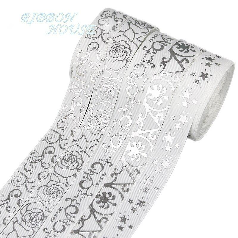 (Мм 10 ярдов/рулон) 22 мм белый горячего тиснения цветок корсажная лента DIY подарок свадебные ленты оптовая продажа