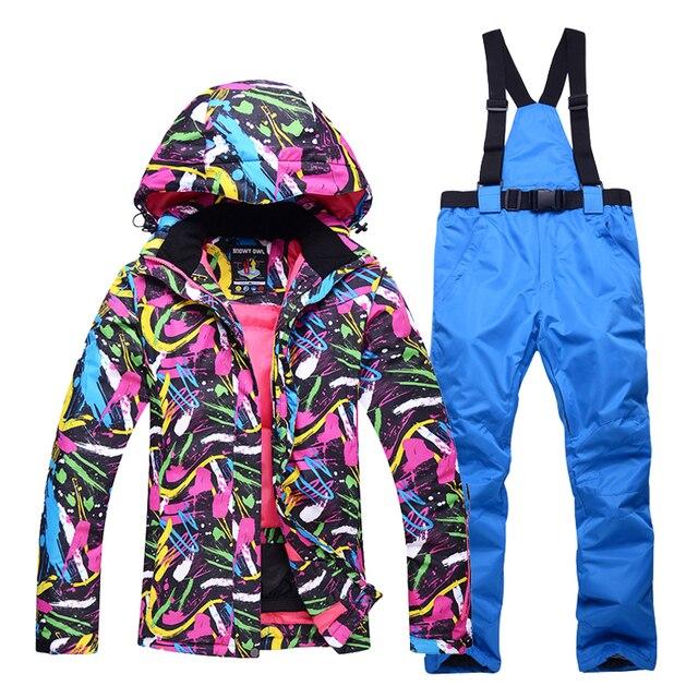 Осенне-зимняя обувь профессиональные лыжные костюмы дамы ветрозащитная и водонепроницаемая износостойкие Теплые Зимние Лыжная куртка + лыжные Штаны женские