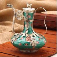 Ancient Exquisite Antique Tibet Silver Green Porcelain good health Word Teapot decoration Tibetan Silver word Wholesale bronze