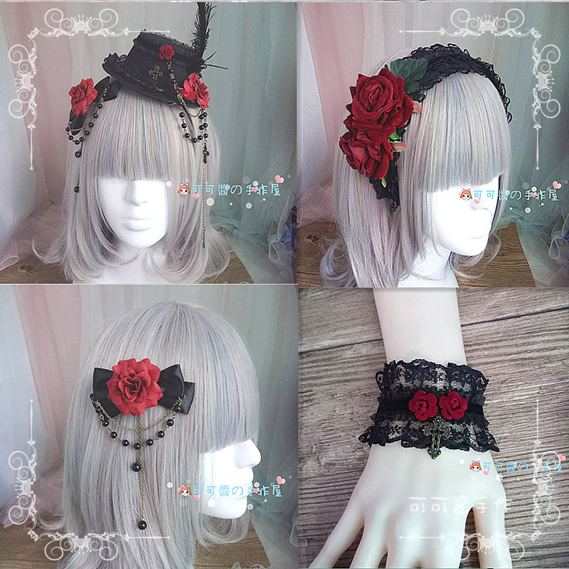 High Quality Japanese Dark Gothic Lolita Hand Cuff Hair Hoop With Lolita Headdress Wine Red Roses Gay Hat Cos Hair Accessories