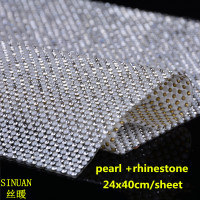 Flatback Rhinestones Trim Hotfix Belt Strass White Half Pearl Stones For Clothes Decoration 24X40Cm Crystals Stones Crafts
