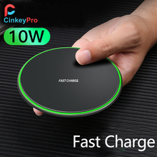 CinkeyPro Wireless Charger Pad Aluminum 10W Fast Charging with LED Light for iPhone 8 X Samsung Charge Mobile Phone QI Device