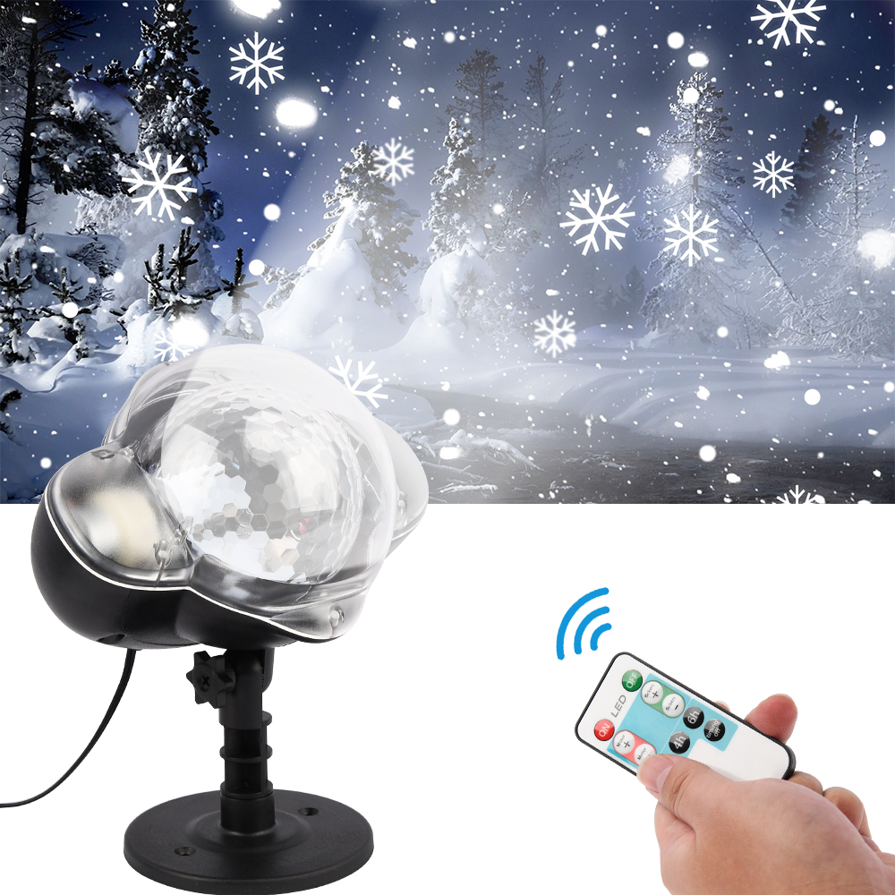 LED Snowfall Projector Light Waterproof IP65 Outdoor Christmas Snowflake Spotlight With Remote Control For Birthday Halloween