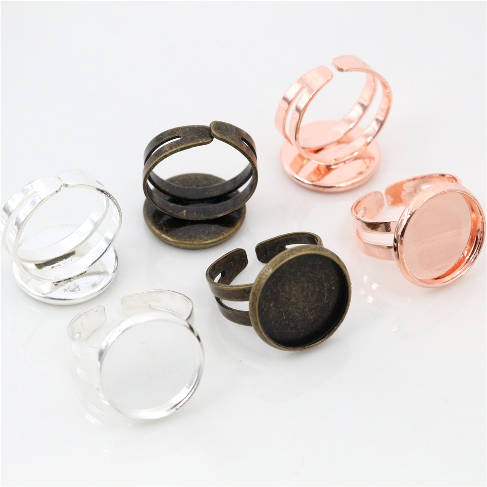 Child Ring 12mm 10pcs Silver/Rose Gold/Bronze Plated Brass Children Adjustable Ring Settings Blank/Base,Fit 12mm Glass Cabochons 18x25mm 5pcs light silver and bronze plated brass drop adjustable ring settings blank base fit 18x25mm glass cabochons