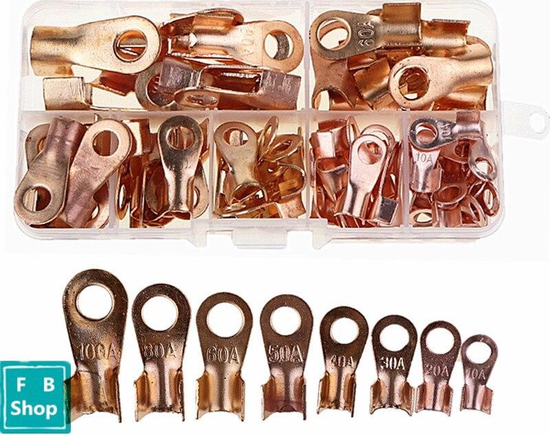 80pcs/box OT 10A 20A 30A 40A 50A 60A 80A 100A copper wire copper terminal copper ear OT opening nose copper nose combination set реле твердотельное yan ling hhg1 1 032f 22 30a 40a 60a 80a