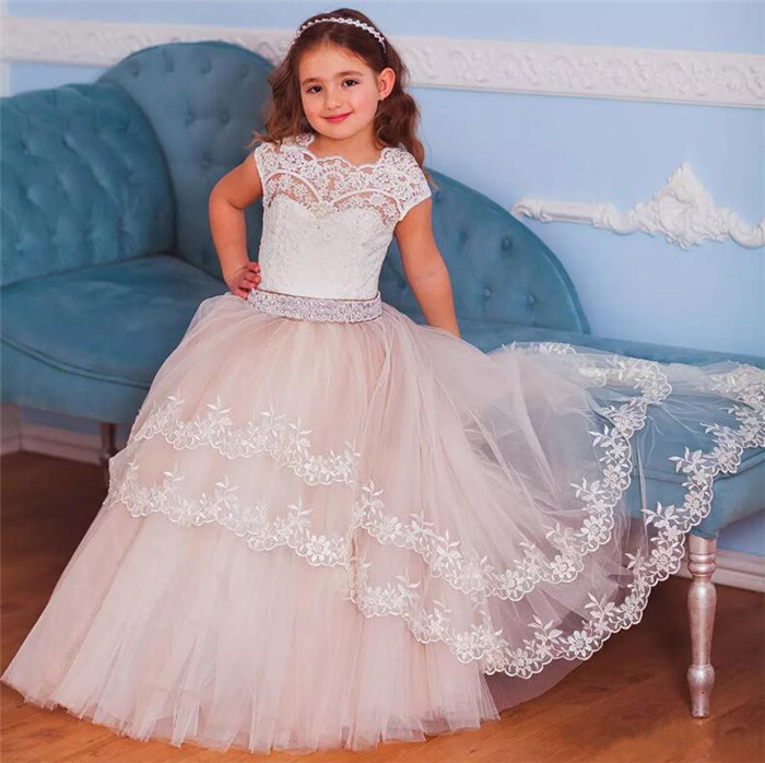 White Lace Ball Gown Flower Girl Dresses For Weddings Sheer Jewel Neck Beaded Sash Little Girls Pageant Dress Any Size sheer neck lace beaded new flower girl