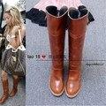 Новый прибыл из натуральной кожи горячий продавать женские случайные высокие сапоги осень зима сплошной цвет толстый каблук высокие сапоги botas altas