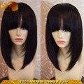 Brazilian Bob Lace Front Wig With Bangs Silk Straight Glueless Full Lace Wigs Short Cut Human Hair Bob Wigs For Black Women