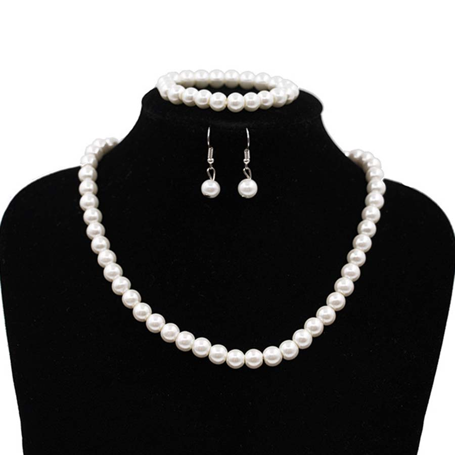 Imitation Pearl Jewelry Sets Women Necklace Bracelet Earrings Engagement Jewelery Bridal Wedding Accessories Women Party Gift