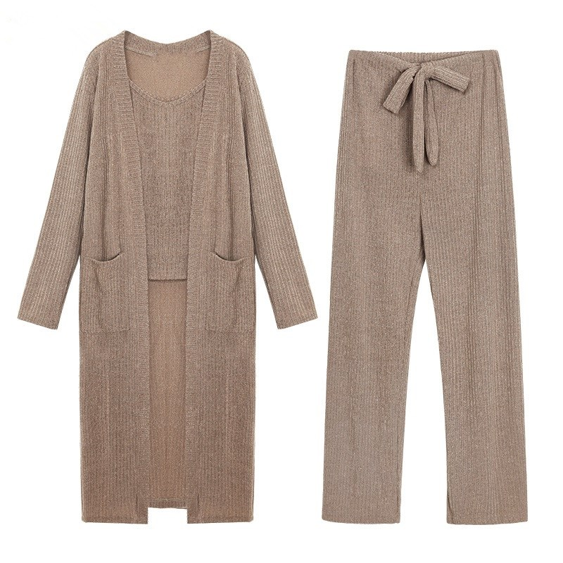 2018 Women Cardigan Sweaters Camis Pants 3 Pieces Set Loose Knitted Sets Casual Tracksuit