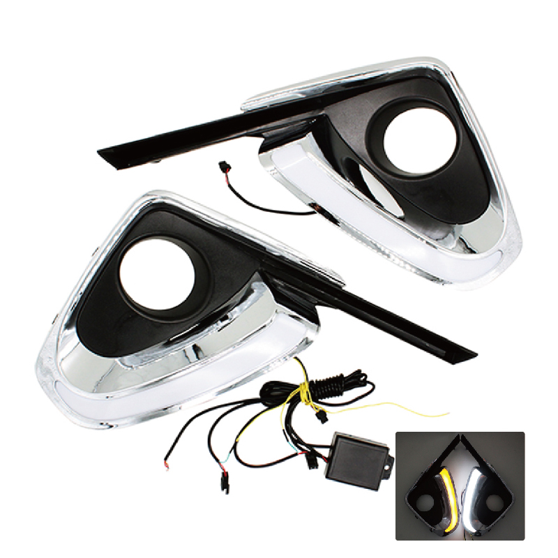 2Pcs/Set Car Styling DRL Daytime Running Light Auto Accessories with Yellow Turn Signal Function For Toyota Fortuner 2015 2016