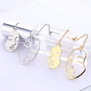 Новые золотые серьги в виде лица поцелуй жены абстрактное искусство Висячие серьги для женщин девушек Статуэтка кисточкой серьги изысканный подарок