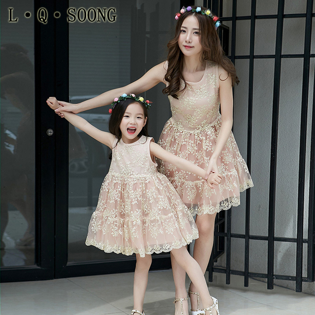 8b2d383e4c L Q SOONG Brands High Quality Mother Daughter Matching Dresses Lace Golden  Silk Princess Dress Family Matching Outfits mom-in Matching Family Outfits  from ...