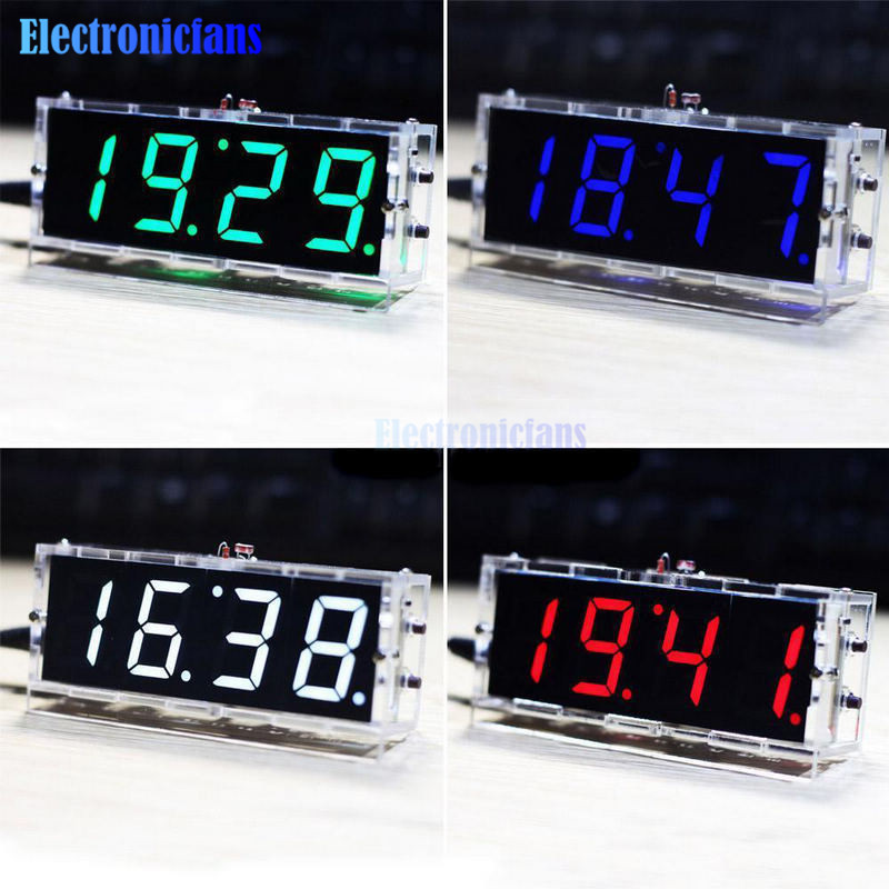 Red/Blue/Green/White LED Electronic Clock Microcontroller Digital Clock Time Lig