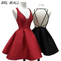 Hot Sale Red Short Homecoming Dress Satin Backless Mini Prom Dress Party gown Sexy v neck Graduation Dress vestido curto