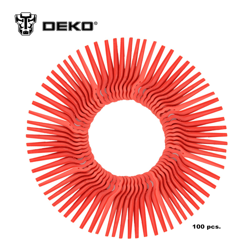 DEKO 100pcs Swing Plastic Blade Pendants for DKGT06 20V Lithium 1500mAh Cordless Grass Trimmer Garden Timmer A
