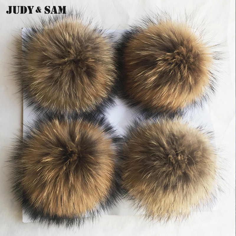 8b145e3679cb ... Genuine Real Big Raccoon Fur Most Fur Pom Pom For Winter Women  Accessories Beanie Hat Cap ...