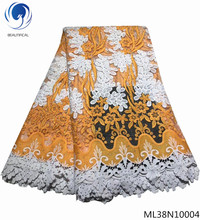 BEAUTIFICAL guipure laces fabric lace fabrics tulle with cord lots rhinestones for party ML38N100