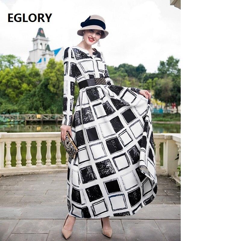 Платье макси с длинным рукавом 2018 осень зима размера плюс женская одежда винтажные черные белые клетчатые вечерние платья с принтом длинно...