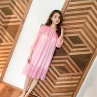 2018 New Womans Long Sleeve Nightgown Cotton Night Gown Ladies Nightdress Sleep Dress Loose Nightwear Mesh Soft White Pink Red