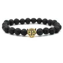 Hot Sale Charm Leopard Bracelet Beaded Volcanic Lava Natural Stone Bracelets Women And Mens Jewelry Accessories