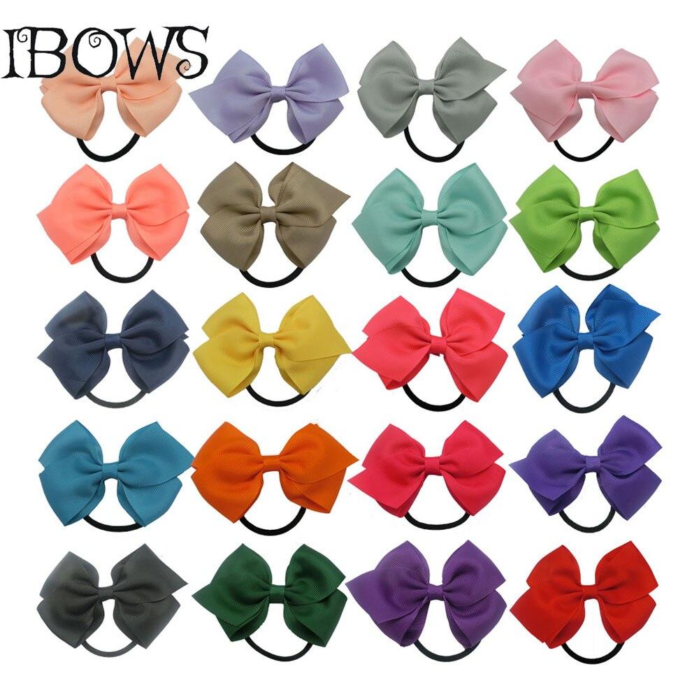 Ha hair bow ribbon wholesale - New Fashion Solid Ribbon Hair Bow With Elastic Band Hamdmade Children Hairbows Accessories Kid