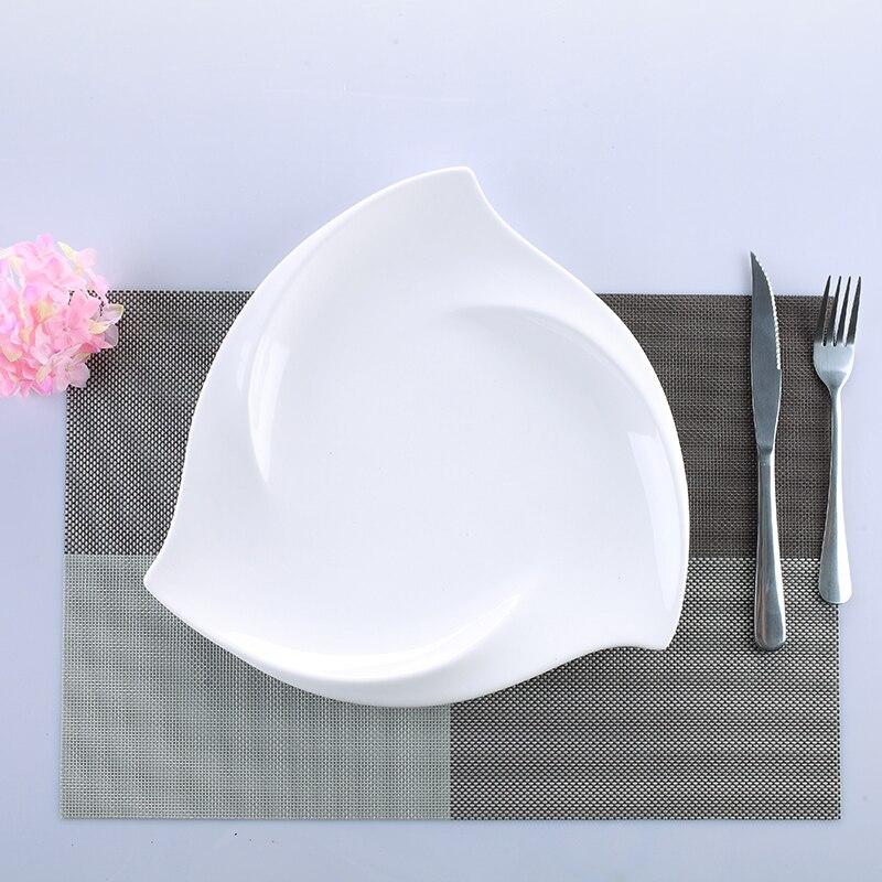 Vaisselle de table irrégulière en porcelaine | Service de table en céramique tourbillon, vaisselle décorative pour le Dessert, la salade, le riz et les nouilles - 2