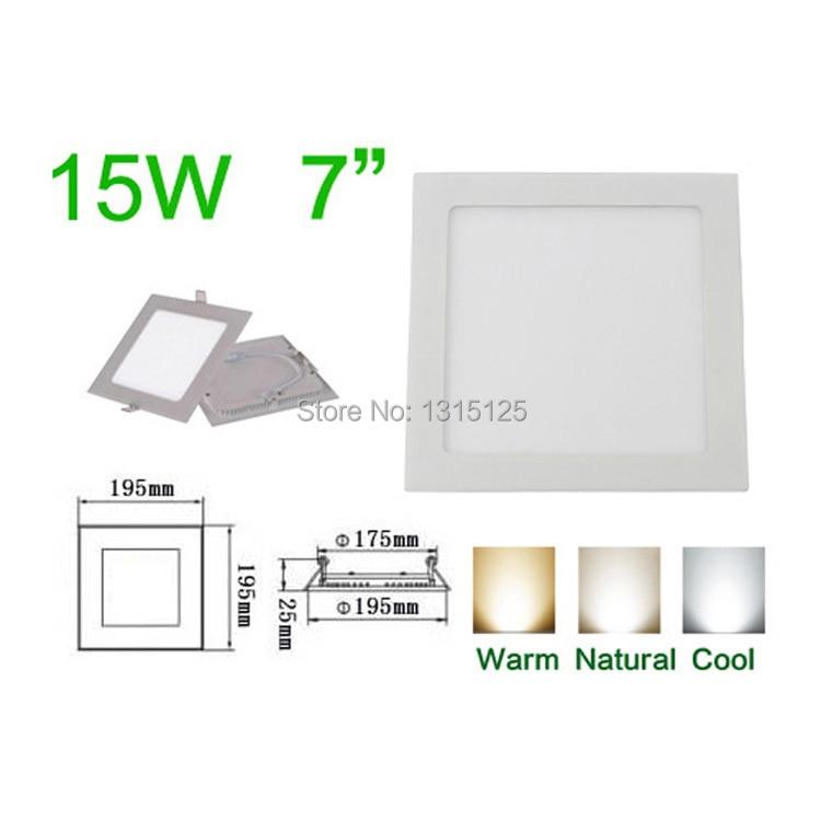 Ultra plonas dizainas15W LED įleidžiamas lubų šviestuvas, kvadratinis LED skydelis šviesa 195mm, AC85-265V didmeninė LED lempa + nemokamas pristatymas