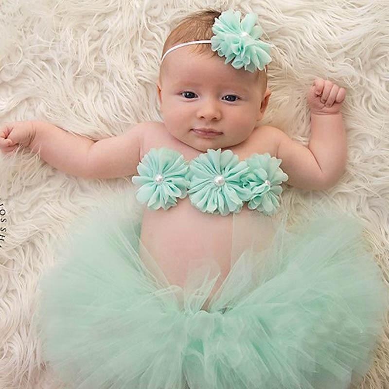 Реквизит для фотосессии для новорожденных, комплект из 3 предметов, повязка на голову и юбка-пачка, топ из бутика с цветами, реквизит для фото...