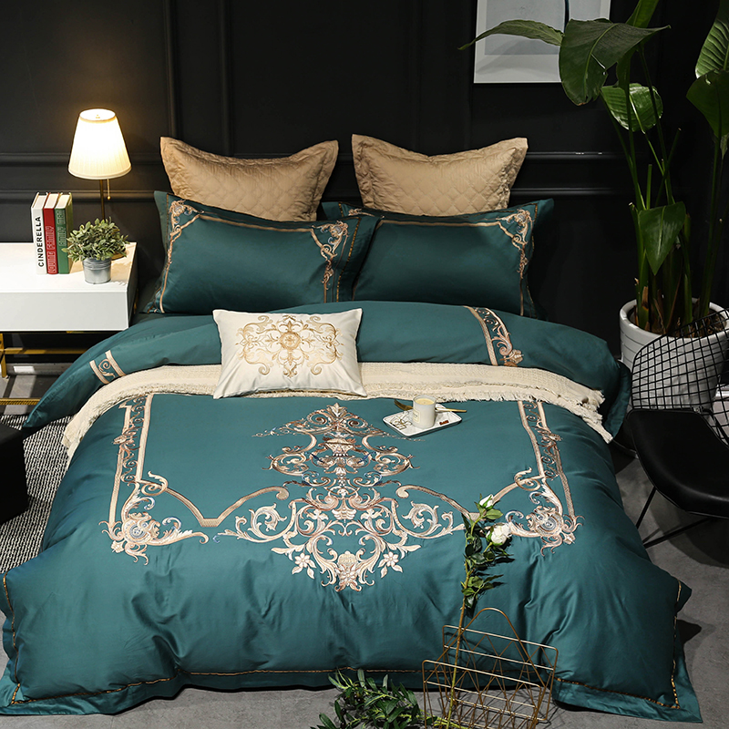 Green Luxury Royal Bedding Set Queen King size 4/5/7Pcs Bed set Oriental Embroidery Duvet Cover Bed Sheet Linens set PillowcaseGreen Luxury Royal Bedding Set Queen King size 4/5/7Pcs Bed set Oriental Embroidery Duvet Cover Bed Sheet Linens set Pillowcase
