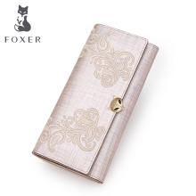 FOXER Brand Womens Leather Wallet Card Holder Clutch Bags Women Fashion Purse Women-Wallet Female Embroidery long Wallets