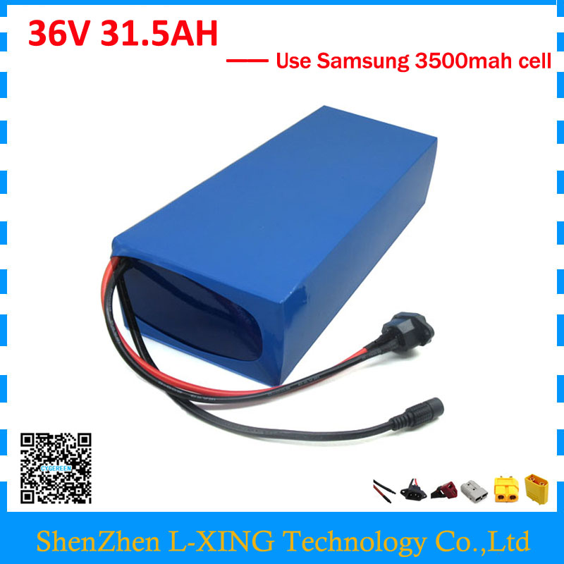 Free customs duty 36V 31.5AH battery pack 1500W 36 V scooter battery 31.5AH use samsung 3500mah cell 50A BMS with 2A Charger free customs taxes and shipping balance scooter home solar system lithium rechargable lifepo4 battery pack 12v 100ah with bms