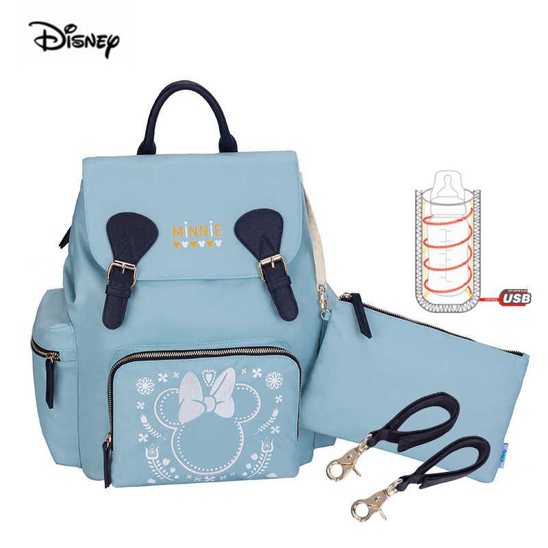 Disney novo aquecimento usb isolado saco de isolamento fralda mochila para bebês recém-nascidos impressão leve maternidade fralda mochila