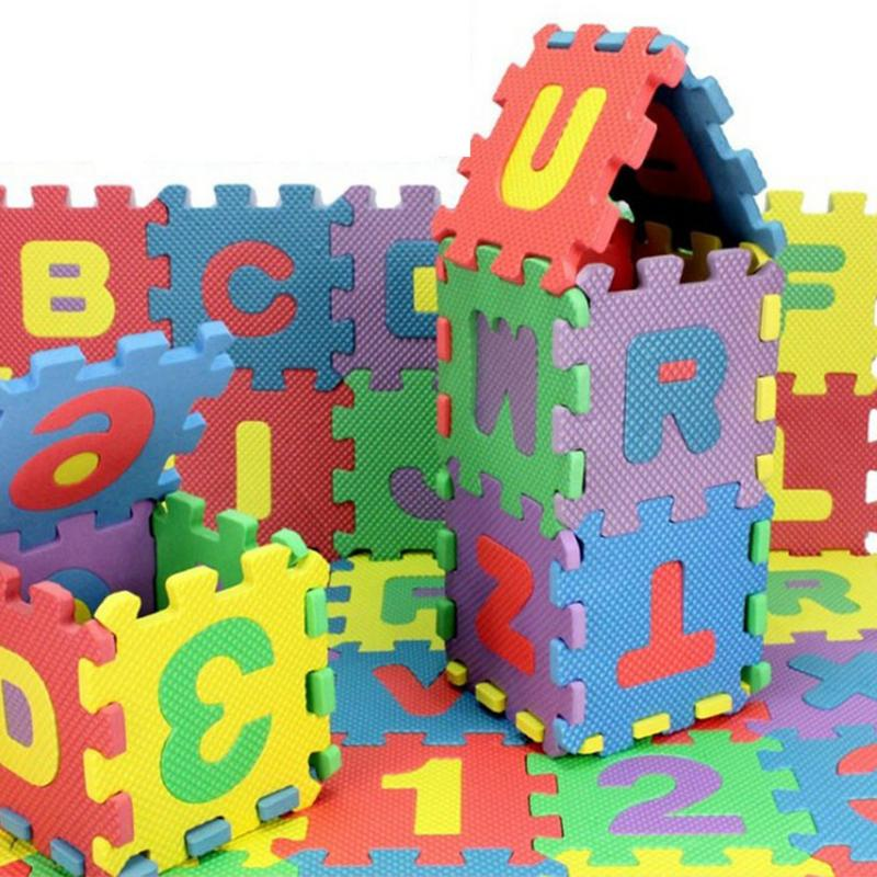 36Pcs/kit  digital letter Pattern Foam Puzzle Kids Rug Carpet Split Joint EVA baby Play Mat Indoor Soft activity Puzzle Mats