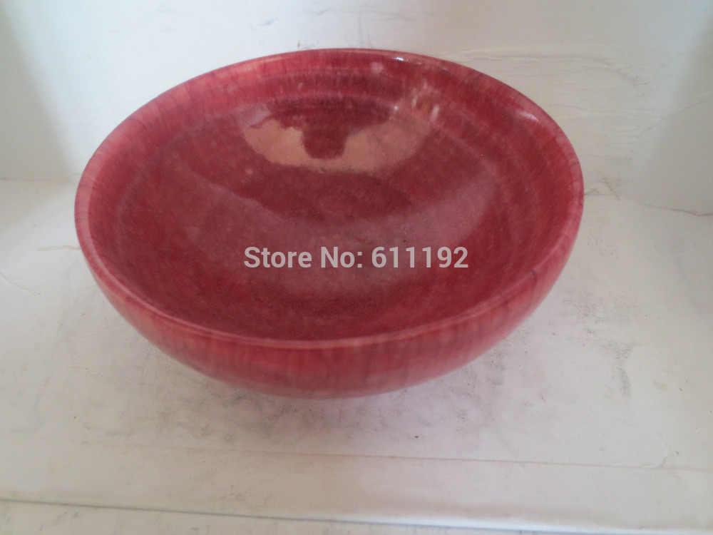 เก่าฝีมือจีนบ้านฮวงจุ้ยการตกแต่งสีแดงหยกหินชามขนาด10*10*4.5 CM