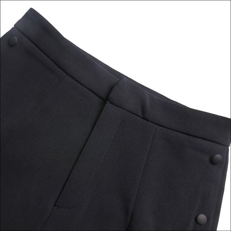 Verano Ancha Tejidas Tendencia Personalidad Nuevo Capris Agradable Mujeres Black Leggings Pantalones Estilo Diseño Abierto Pierna Loose Lado Señora qwzIE8zO