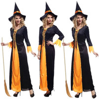 Free Shipping Masquerade Carnival Halloween Witch Costumes For Adults Fantasia Fancy Dress With Witch Hat Women
