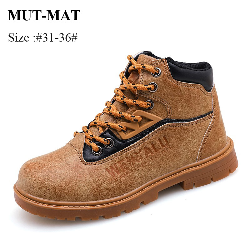 Mut-Mat Children Martin Boots Boys And Girls Warming Leather Boots British Style Fashion  Boots Non-slip Tooling Boots