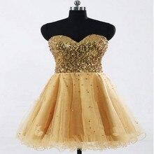 Kurz gold pailletten prom kleider a- line spitze für party plus size spitze- bis desing Knie- länge kleid aufkleber