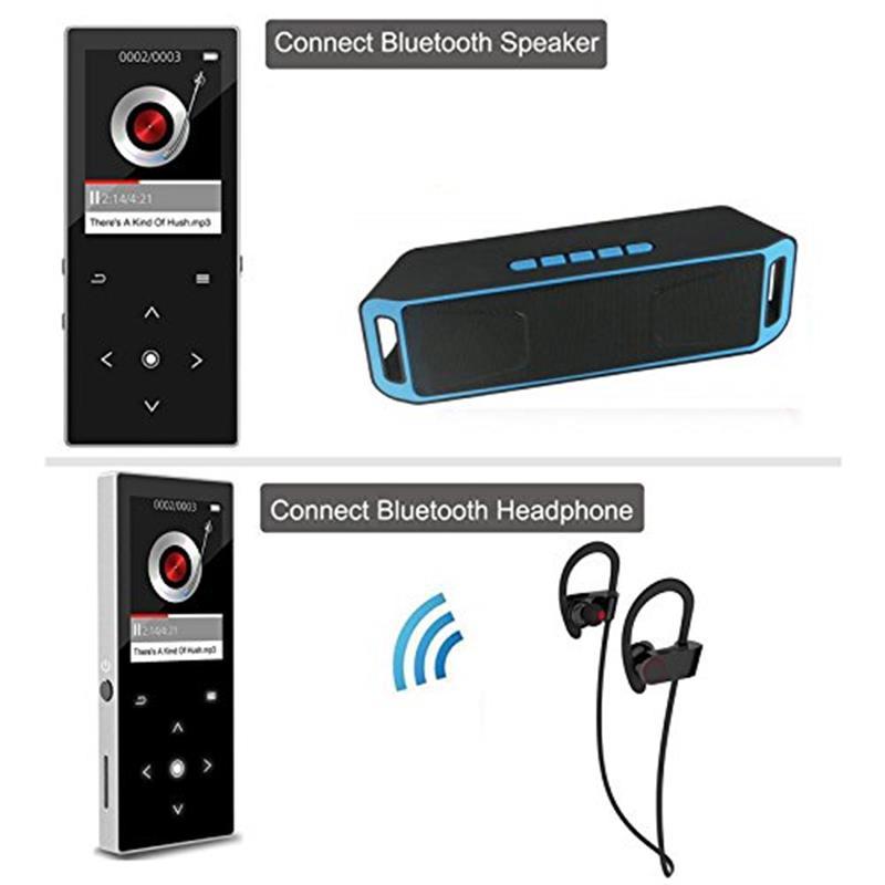 Bluetooth4.2 jogador mp4 16 gb botão de toque de alta fidelidade leitor de música com 1.8 tela de alto falante embutido mp4 player de áudio