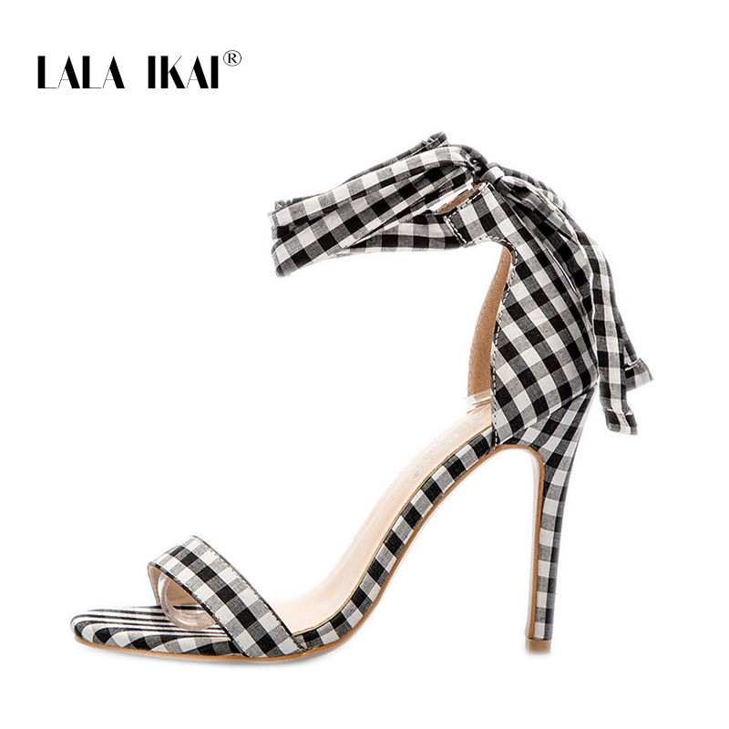 be297f89f228f LALA IKAI Scottish Plaid High Sandals Women Cross Tied Heels Ladies Ankle  Strap Lace Up Party Bow High Shoes 014C1880 3-in High Heels From Shoes  (BEST PROMO ...