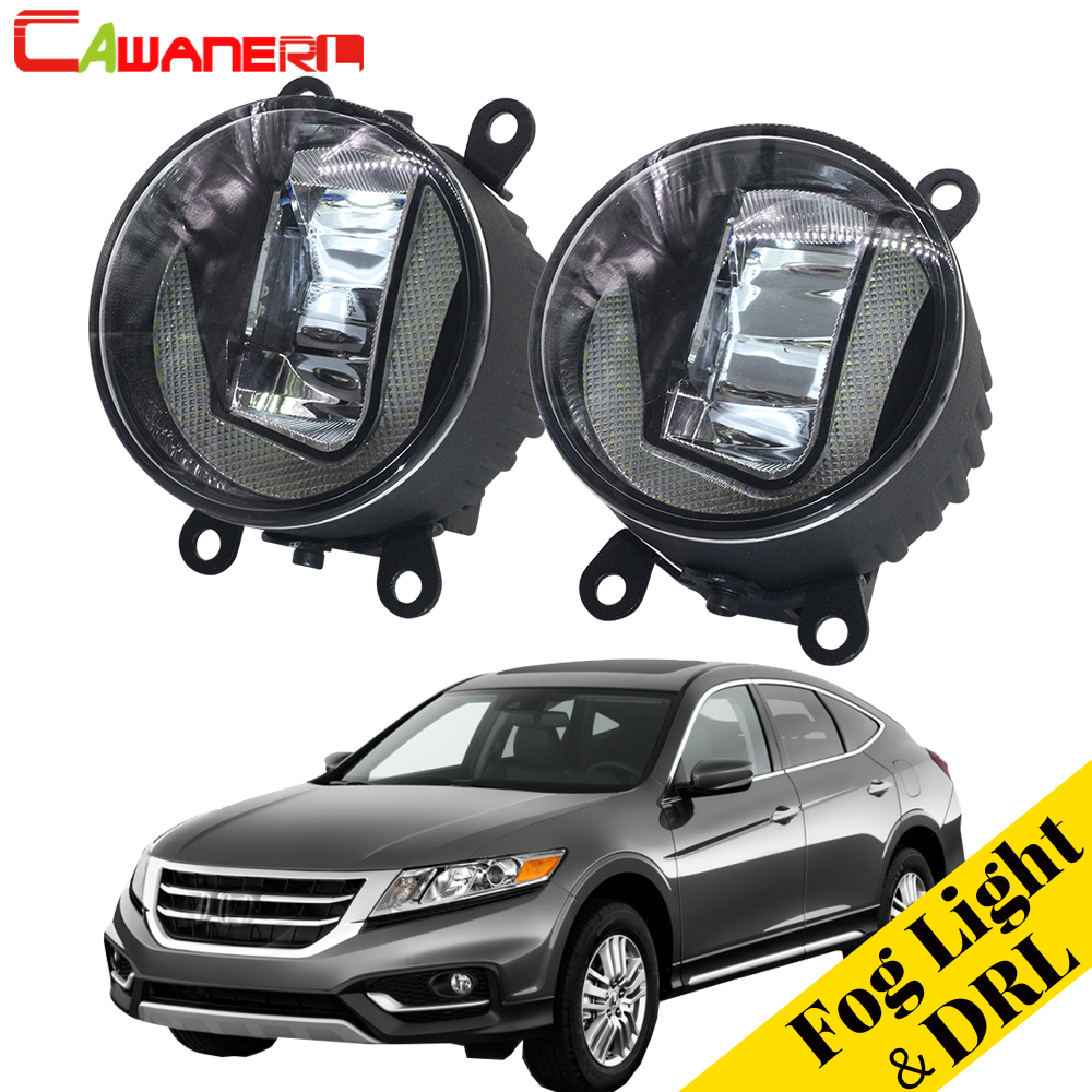Cawanerl For Honda Crosstour 2013 2014 2015 Car 2in1 LED Fog Light + DRL Daytime Running Lamp White High Bright Styling 2 Pieces телевизор kraft ktvc 3904ledt2d tg