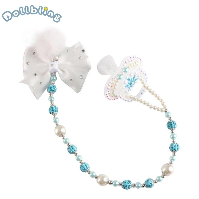 Blue Glitter Pacifier Chain Luxury Rhinestones Snowflake Pacifier Infants Teething Chain Baptism Newborn First Birthday Keepsake