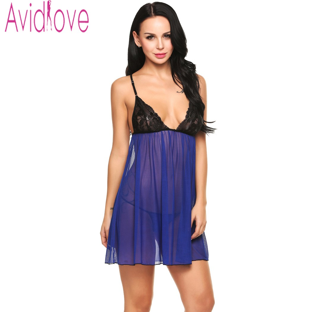 Avidlove Erotic Sleepwear Women Sexy Transparent Lingerie Plus Size Night DressMini Babydoll Sheer Mesh Lace Patchwork Nightwear