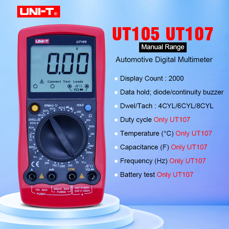 UNI-T <font><b>UT105</b></font>/UT107 Handheld Automotive Multipurpose Meters Manual Range Multimeter Input Protection Tach Battery Test image