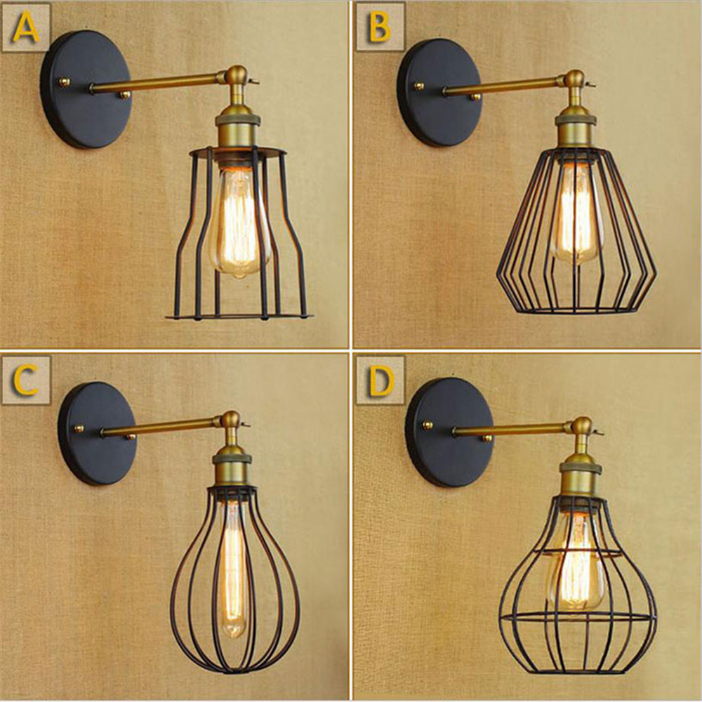 Retro Industrial Metal Cage Corridor lamp loft Wall Sconce lamp Fixture apliques led pared indoor lighting up and down wall lamp indoor wall mounted led wall sconce up down led wall lamp lighting input 220 240v