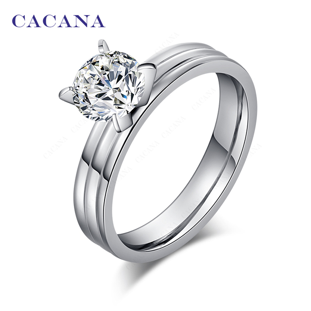 CACANA Titanium Stainless Steel Rings For Women Stainless Steel With CZ Fashion