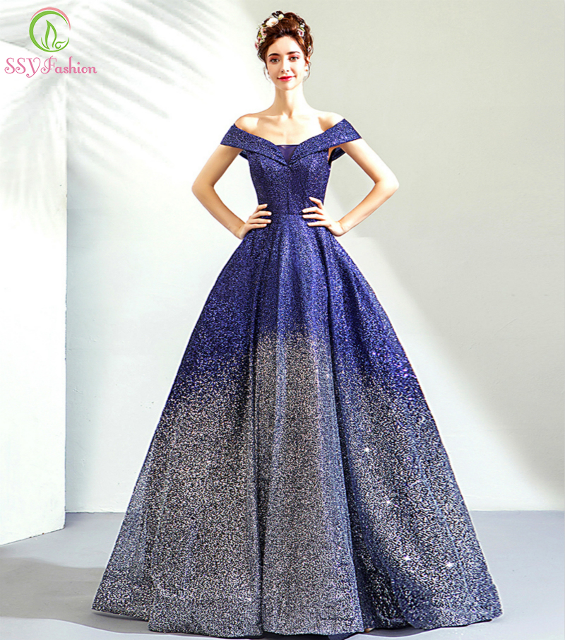 Clearance Luxury Banquet Shining Prom Bride Floor length Blue Gradient Color A line Party Formal Gowns