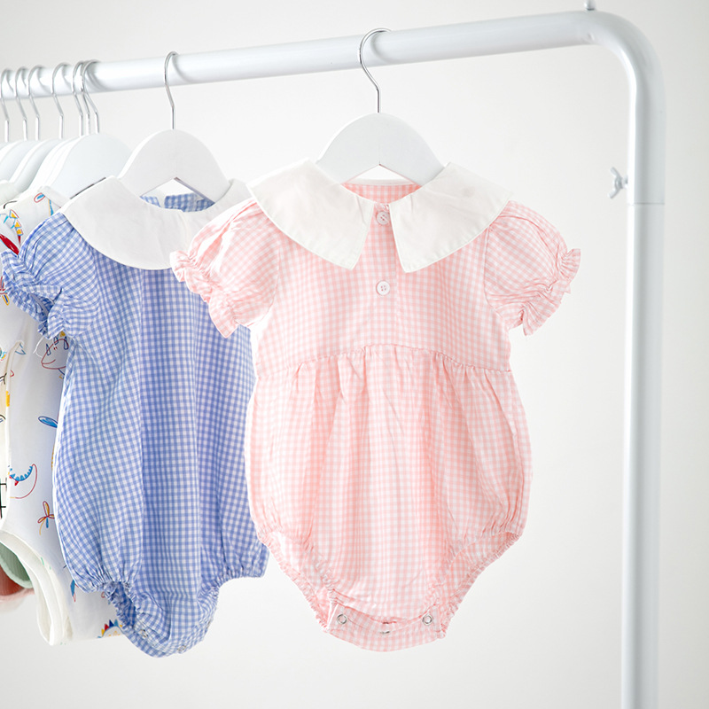 Short-sleeved Cotton Crawl Suit With Plaid Small Round Collar For Summer Infants And Young Girls 2019 rompersShort-sleeved Cotton Crawl Suit With Plaid Small Round Collar For Summer Infants And Young Girls 2019 rompers
